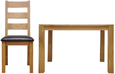 Newton Oak Dining Set - Large Fixed Top with 6 Ladder Back Chairs