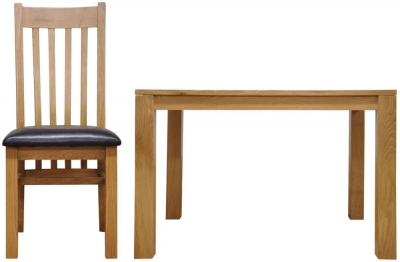 Newton Oak Dining Set - Large Fixed Top with 6 Slat Back Chairs