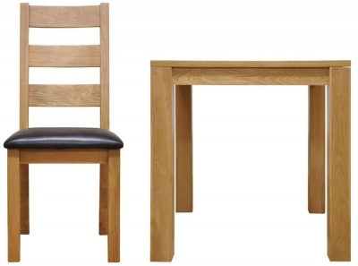 Newton Oak Dining Set - Small Fixed Top with 4 Ladder Back Chairs