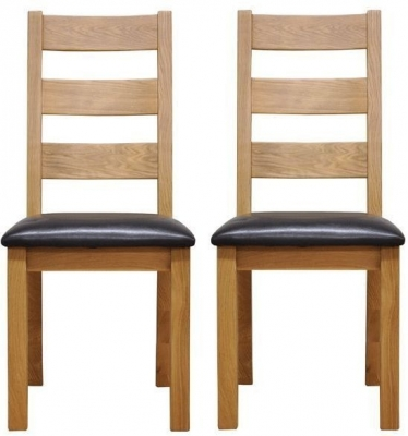 Newton Oak Ladder Back Chair - Faux Leather Seat (Pair)
