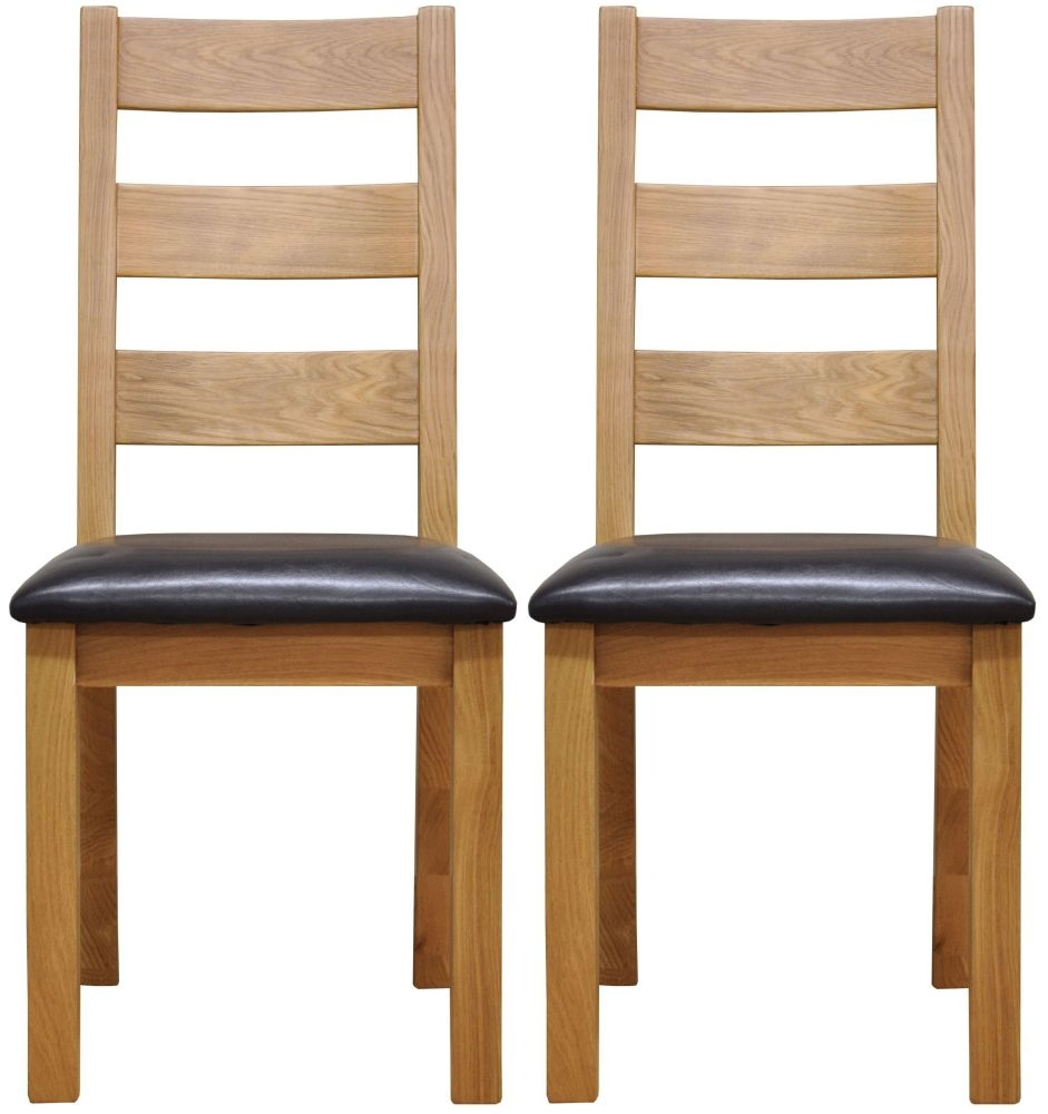 Newton Oak Dining Chair - Ladder Back Faux Leather Seat (Pair)