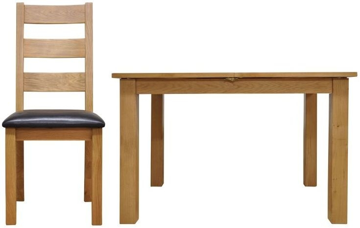 Newton Oak Dining Set - 1.2m Butterfly with 4 Ladder Back Chairs
