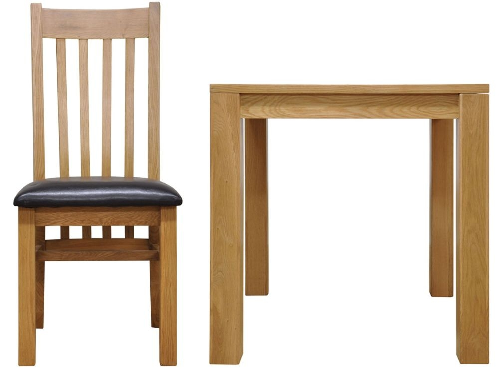 Newton Oak Dining Set - Small Fixed Top with 4 Slat Back Chairs