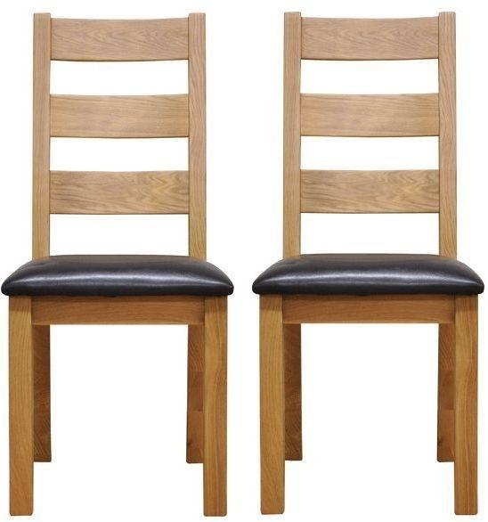 Newton Oak Ladder Back Chair - Faux Leather Seat (Pair)
