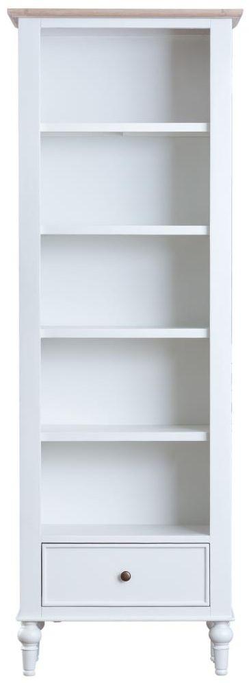 Penelope Oak and White Painted Large Narrow Bookcase