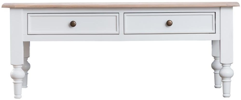 Penelope Oak and White Painted 2 Drawer Storage Coffee Table