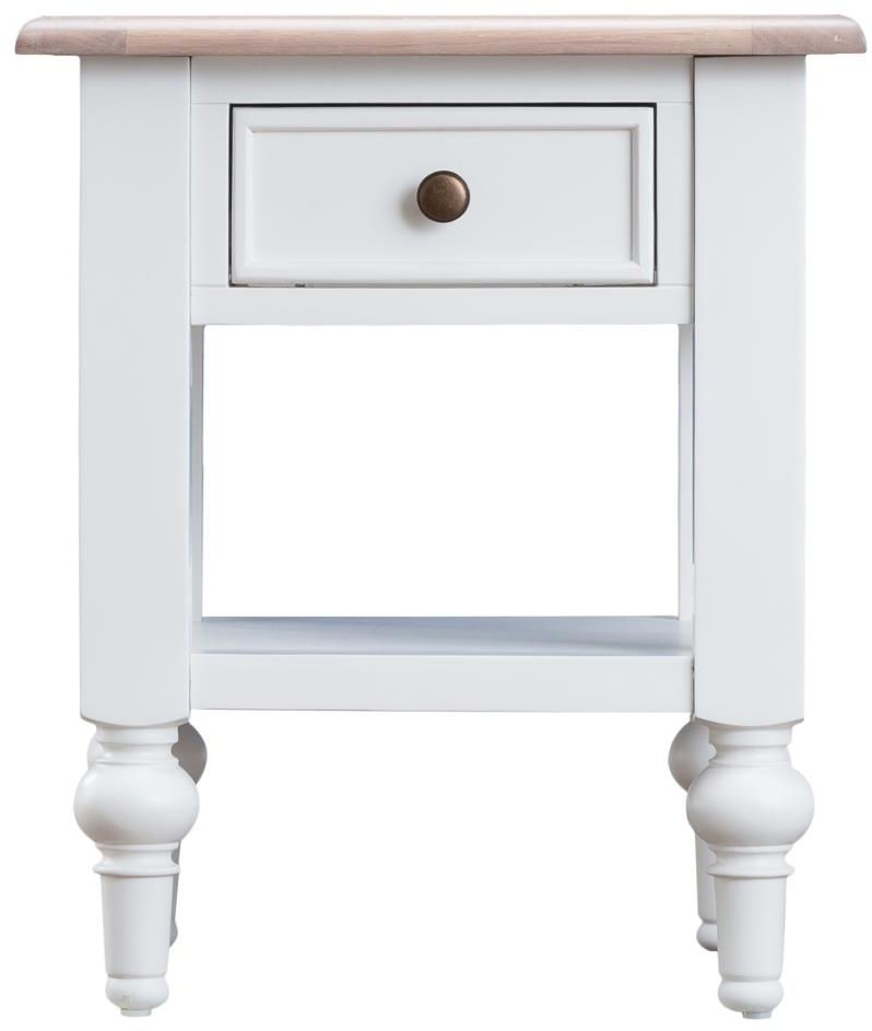 Penelope Oak and White Painted 1 Drawer Lamp Table
