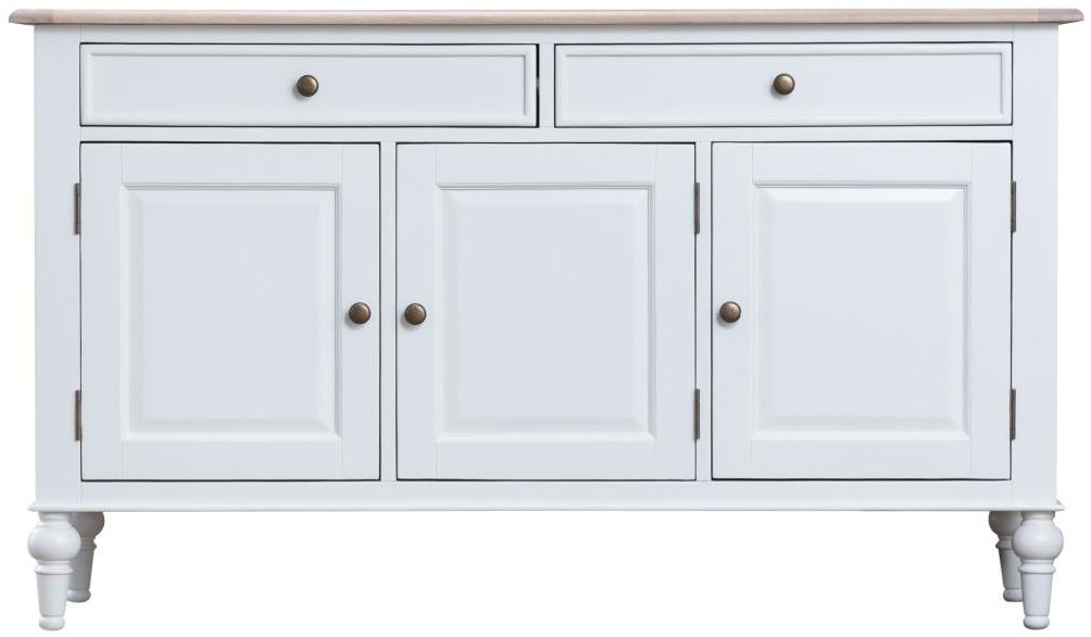 Penelope Oak and White Painted 3 Door Medium Sideboard