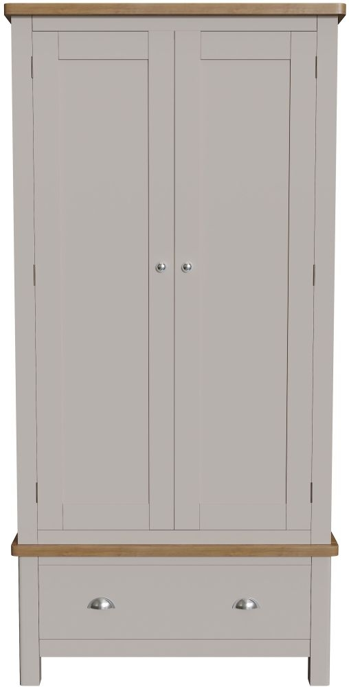 Portland 2 Door 1 Drawer Wardrobe - Oak and Dove Grey Painted