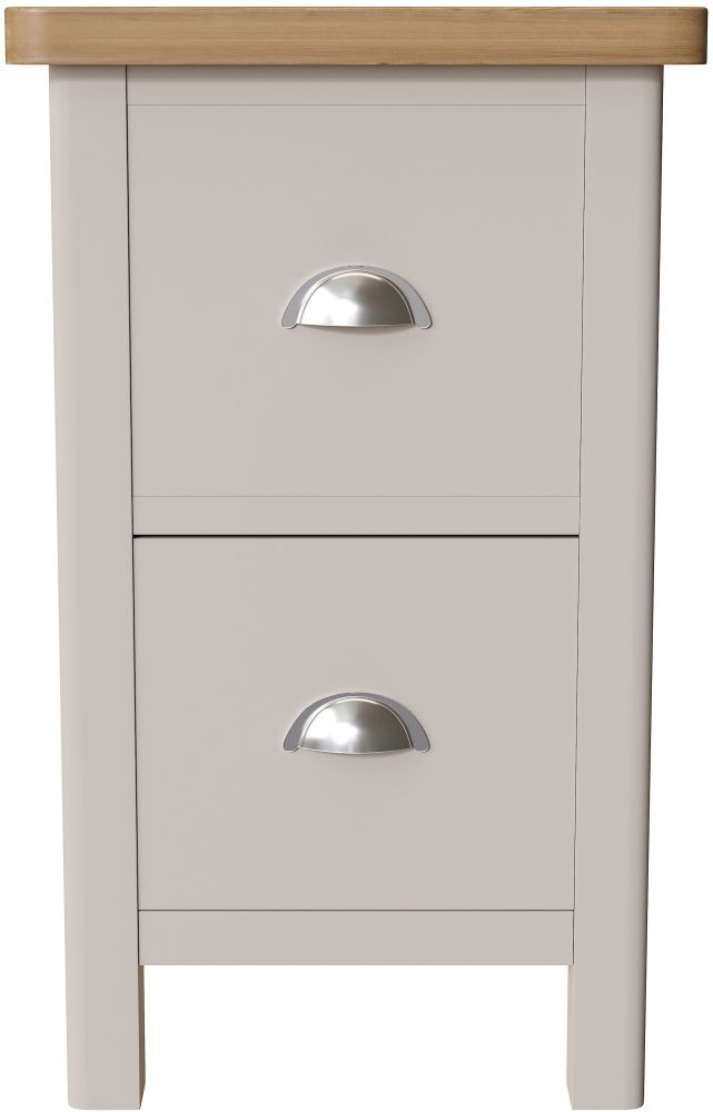 Product photograph showing Portland Narrow Bedside Cabinet - Oak And Dove Grey Painted