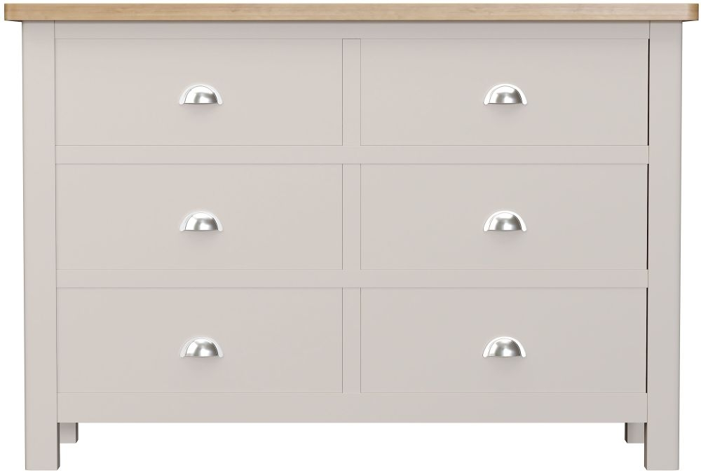 Portland 6 Drawer Chest - Oak and Dove Grey Painted