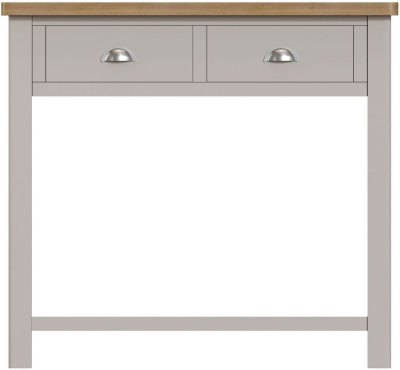 Portland Oak and Dove Grey Painted 2 Drawer Console Table