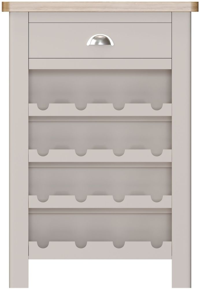 Portland Oak and Dove Grey Painted 1 Drawer Wine Cabinet
