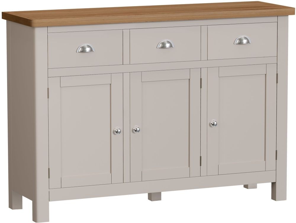 Portland Wide Sideboard - Oak and Dove Grey Painted