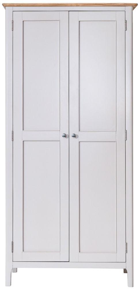 Shore Oak and Dove Grey Painted 2 Door Wardrobe