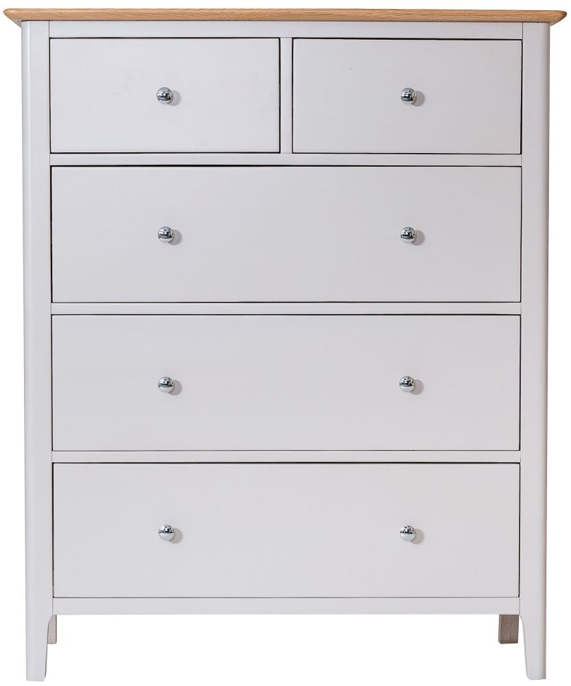 Shore Oak and Dove Grey Painted 2+3 Drawer Tall Chest