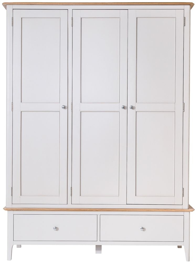 Shore 3 Door 2 Drawer Wardrobe - Oak and Dove Grey Painted