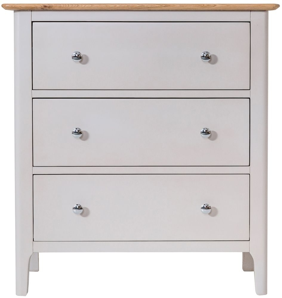 Shore 3 Drawer Chest - Oak and Dove Grey Painted