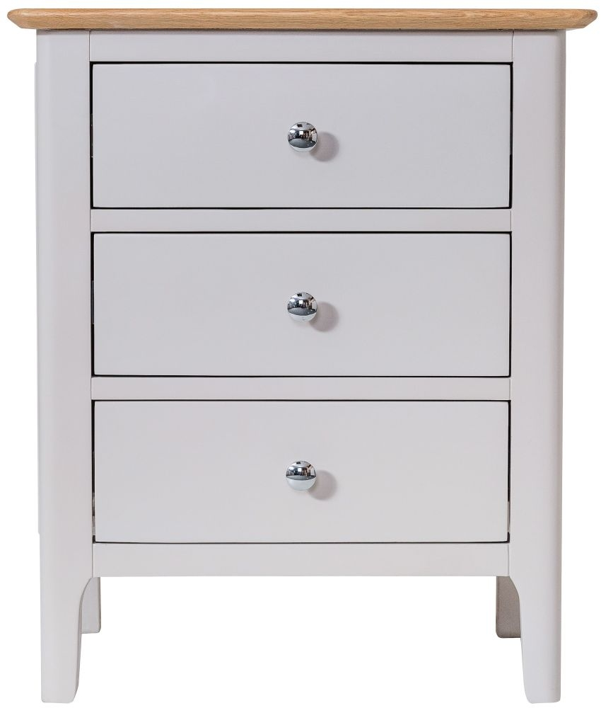 Shore Wide Bedside Cabinet - Oak and Dove Grey Painted