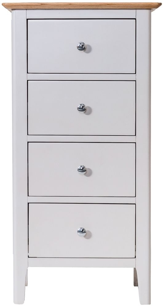 Shore Oak and Dove Grey Painted 4 Drawer Chest