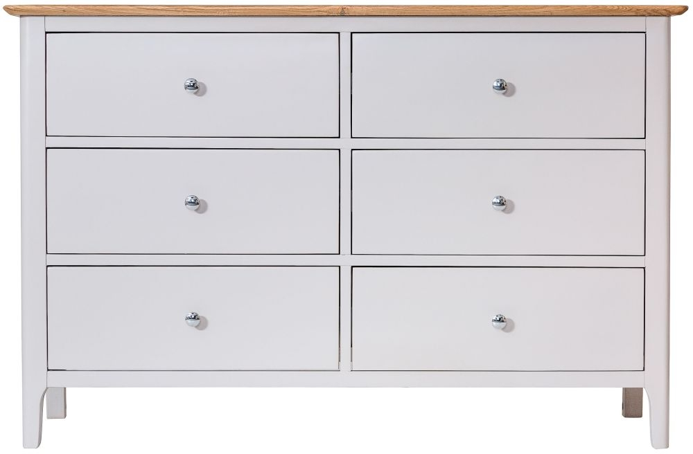 Shore Oak and Dove Grey Painted 6 Drawer Chest