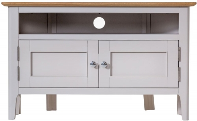 Shore Oak and Dove Grey Painted 2 Drawer Corner TV Unit
