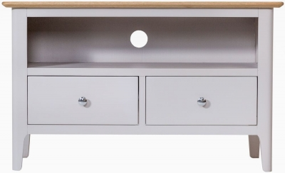 Shore Oak and Dove Grey Painted 2 Drawer Standard TV Unit