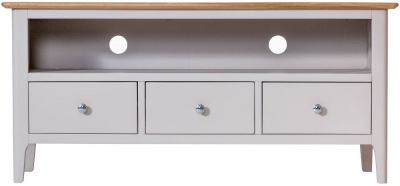 Shore Oak and Dove Grey Painted 3 Drawer TV Unit