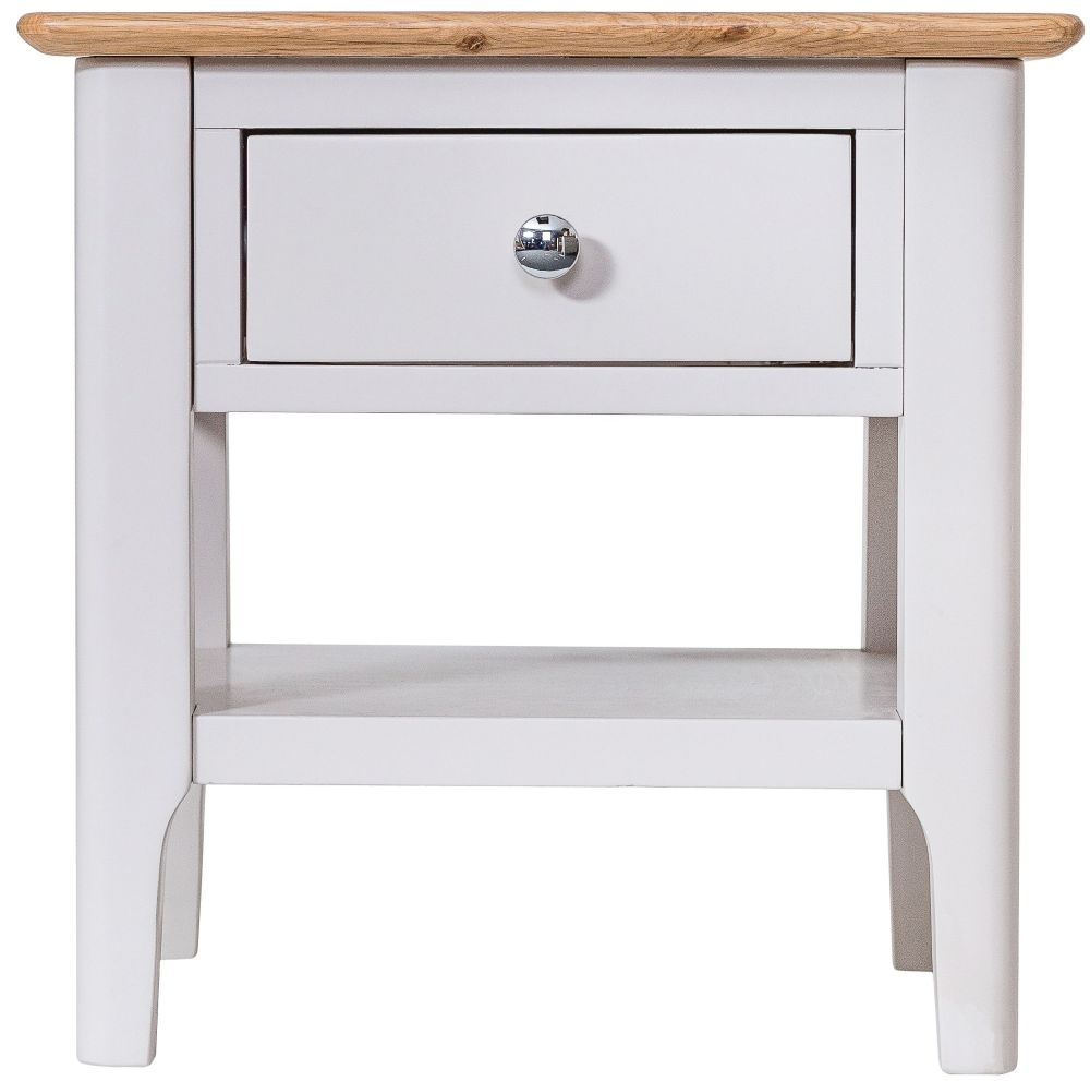 Shore Oak and Dove Grey Painted 1 Drawer Lamp Table
