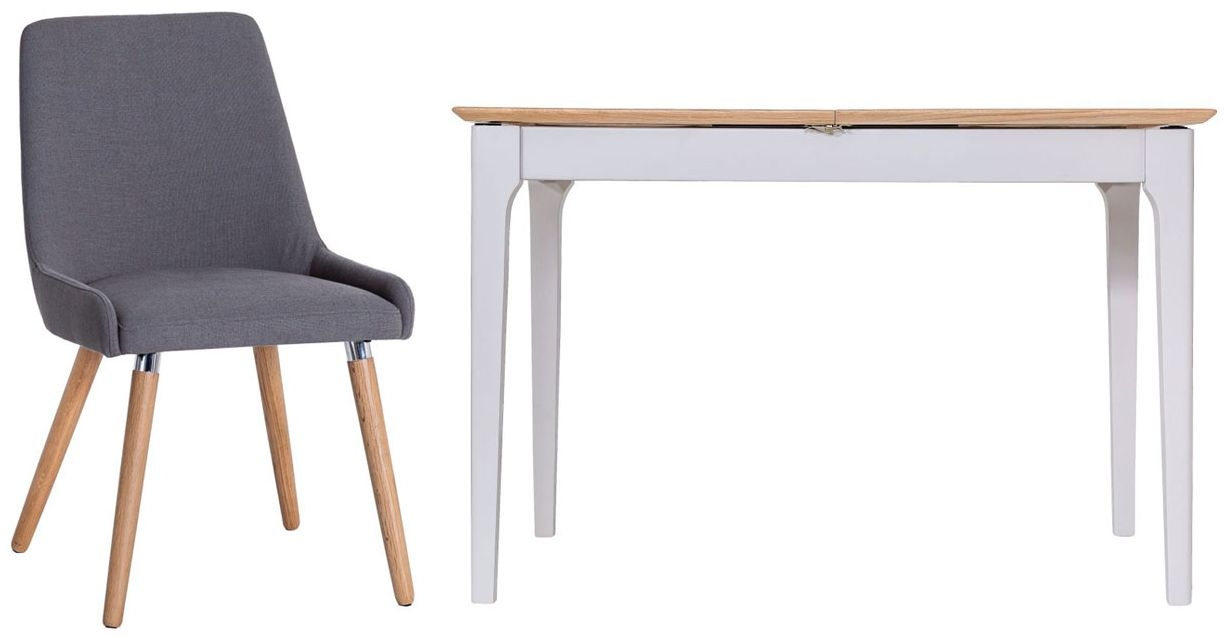 Shore Butterfly Extending Dining Table and Retro Style Chairs - Oak and Dove Grey Painted