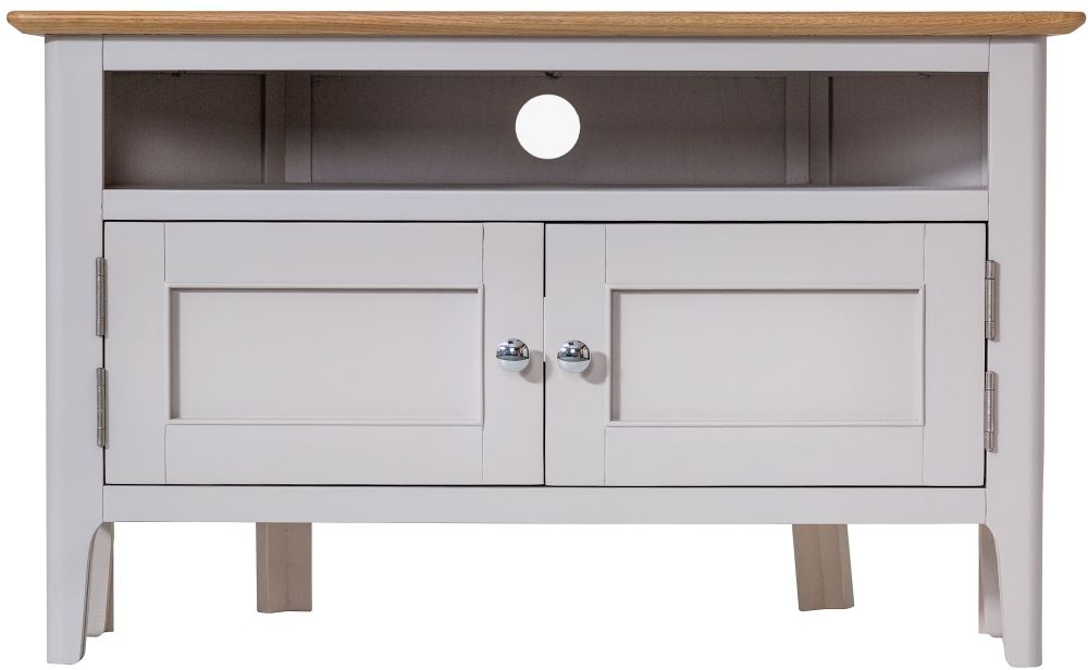 Shore Corner TV Unit - Oak and Dove Grey Painted