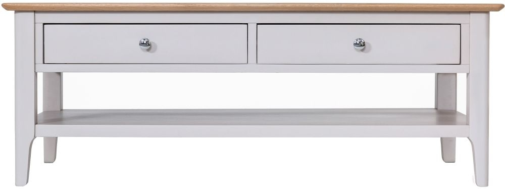 Shore Oak and Dove Grey Painted 2 Drawer Coffee Table