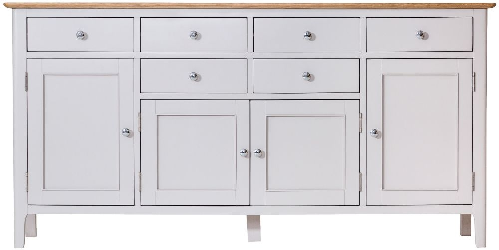 Shore Oak and Dove Grey Painted 4 Door 6 Drawer Sideboard