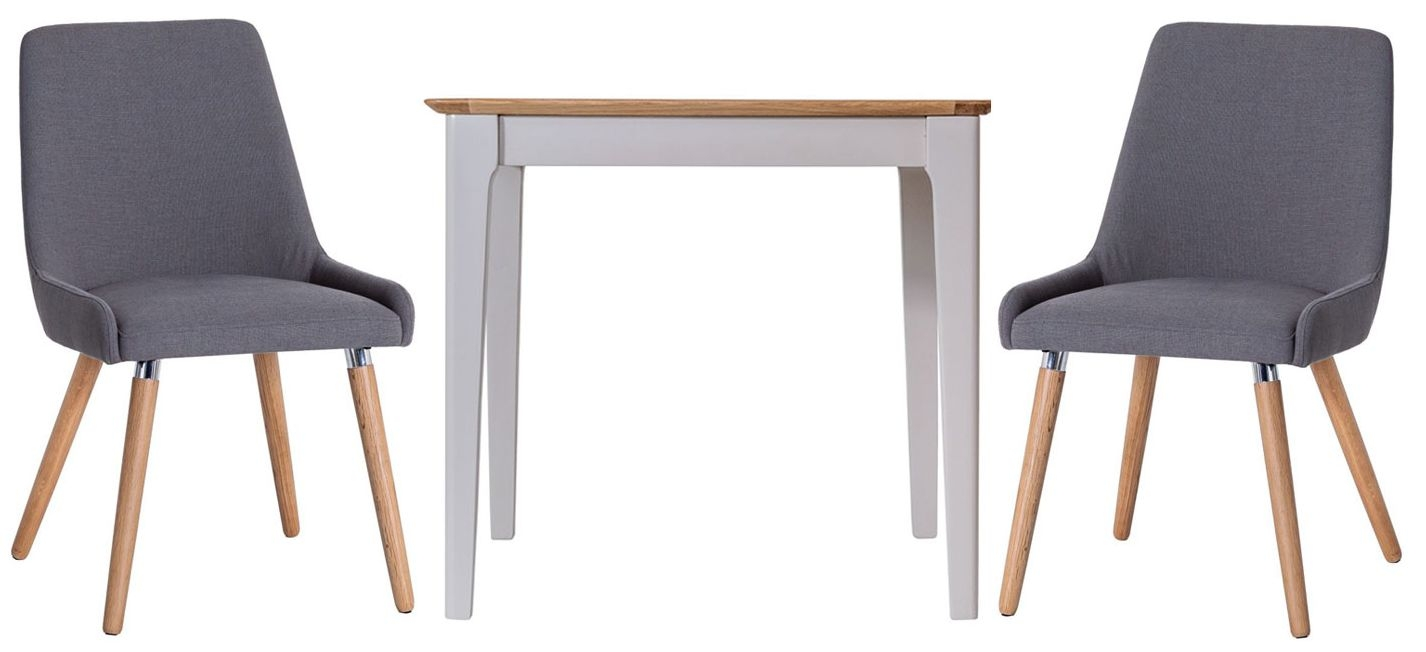 Shore Square Dining Table and 2 Retro Style Chairs - Oak and Dove Grey Painted