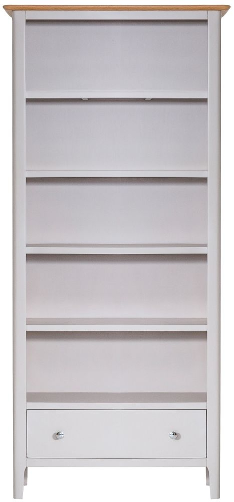 Shore Oak and Dove Grey Painted 1 Drawer Tall Bookcase