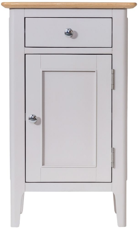Shore Oak and Dove Grey Painted 1 Door 1 Drawer Small Cupboard