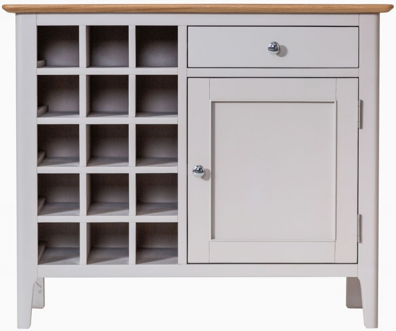 Shore Wine Cabinet - Oak and Dove Grey Painted