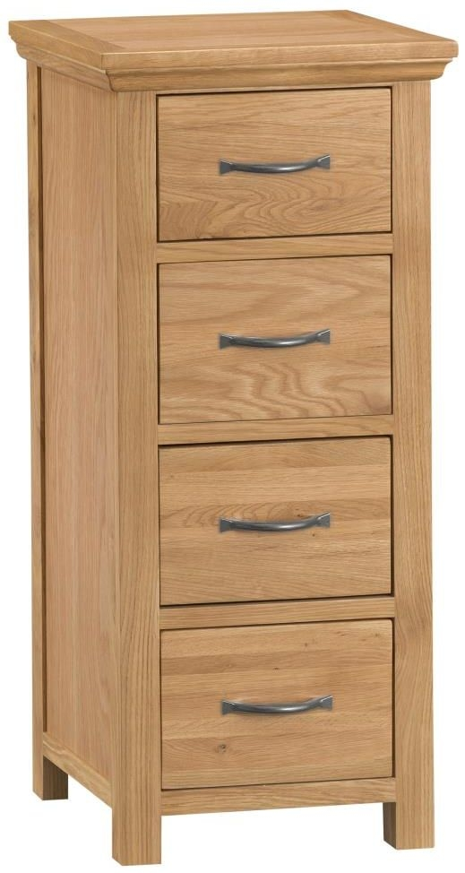 Sidmouth Natural Oak Chest of Drawer - Narrow 4 Drawer