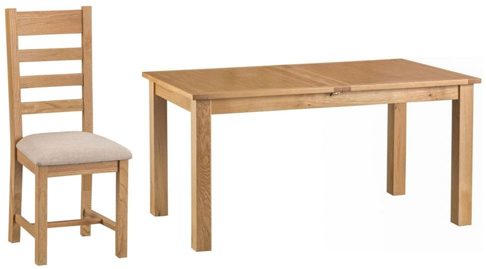 Sidmouth Natural Oak Dining Table - 160cm Butterfly with 4 Ladder Back Fabric Seat