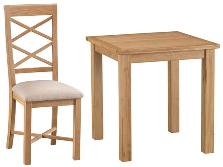 Sidmouth Natural Oak Square Dining Set with 4 Cross Back Fabric Seat - 75cm