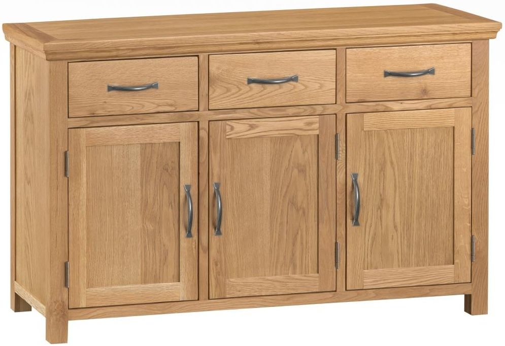 Sidmouth Natural Oak 3 Door Wide Sideboard