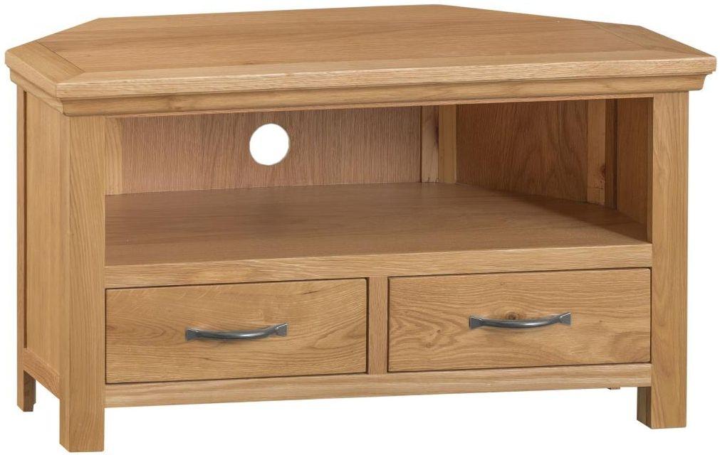 Sidmouth Natural Oak 2 Drawer Corner TV Unit