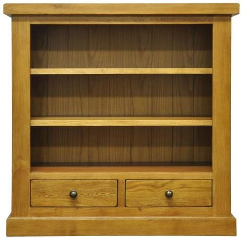 Tewksbury Oak 2 Drawer Small Wide Bookcase