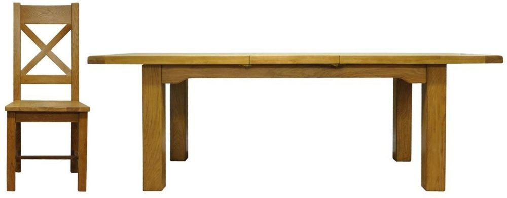 Tewksbury Oak Rectangular Butterfly Extending Dining Set with 4 Cross Back Wooden Seat Chair - 180cm