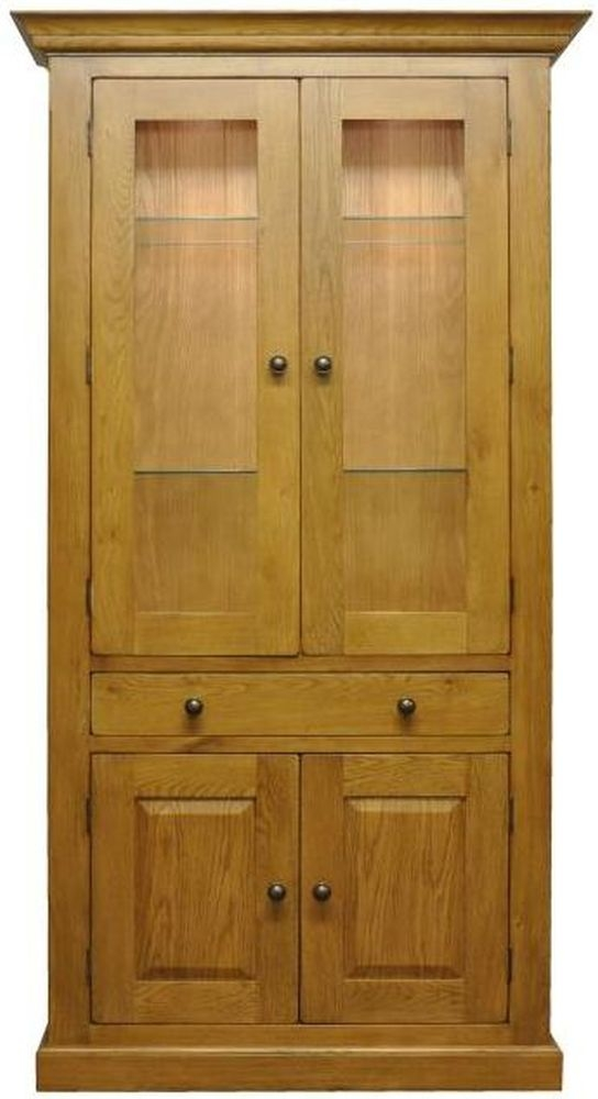 Tewksbury Oak 4 Door 1 Drawer Display Cabinet