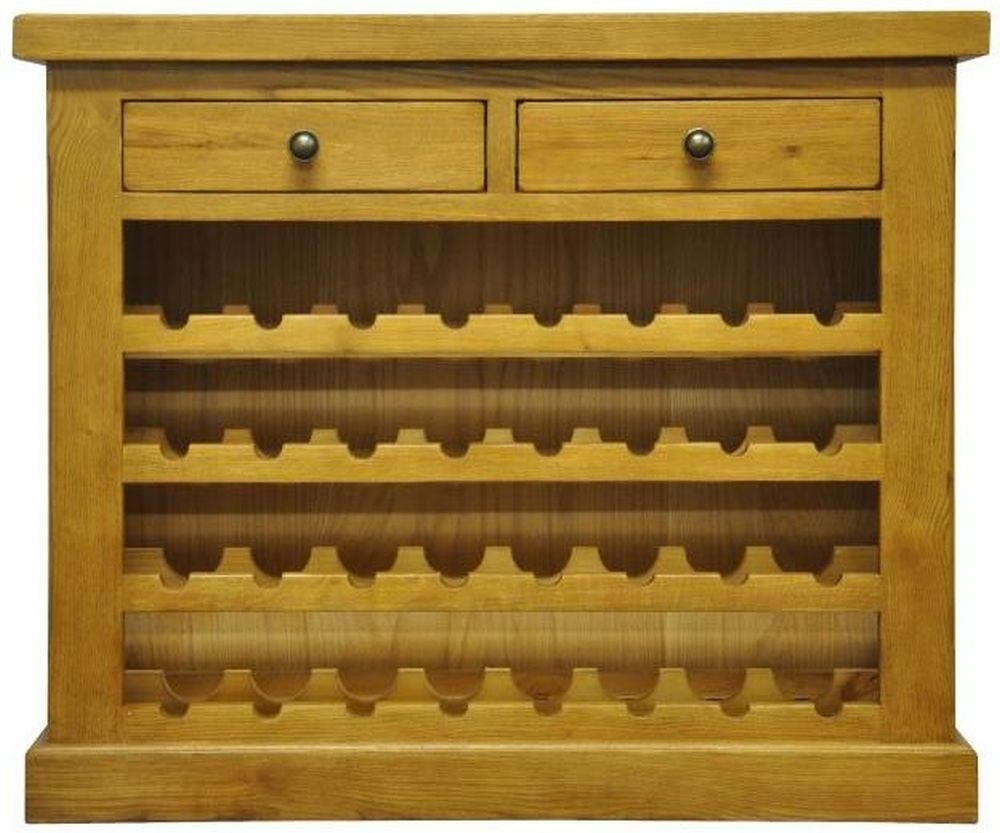 Tewksbury Oak 2 Drawer Wine Cabinet
