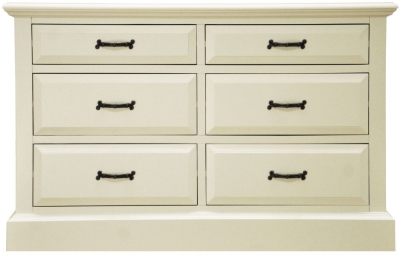 Toulouse Off White Painted Pine Chest of Drawer - 6 Drawer