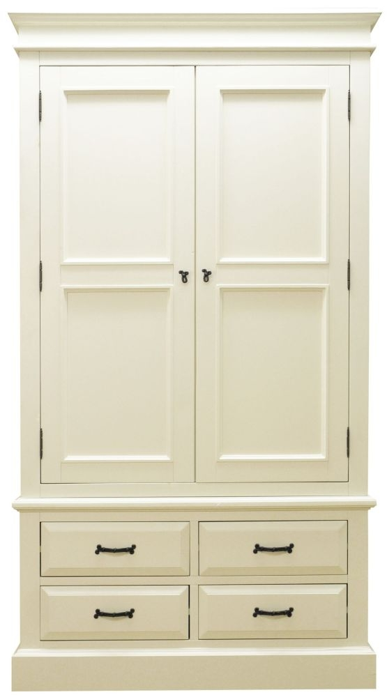 Toulouse Off White Painted Pine Wardrobe - 2 Door 4 Drawer