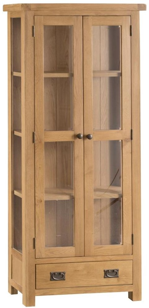 Tucson Oak 2 Door 1 Drawer Display Cabinet