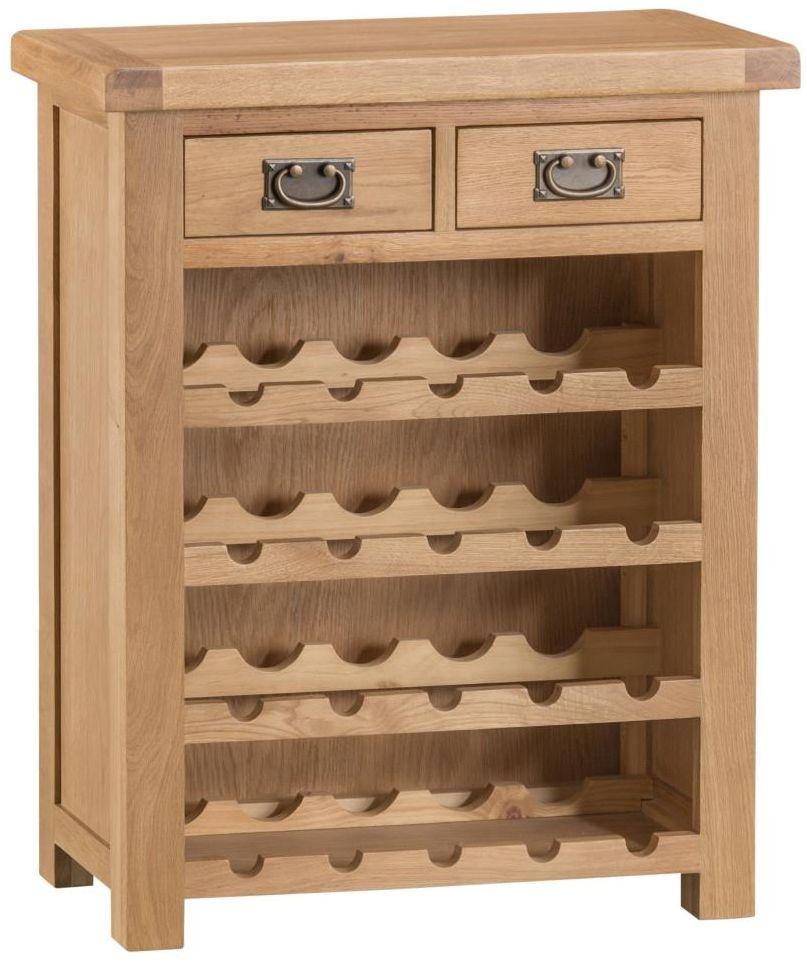 Tucson Oak 2 Drawer Wine Rack